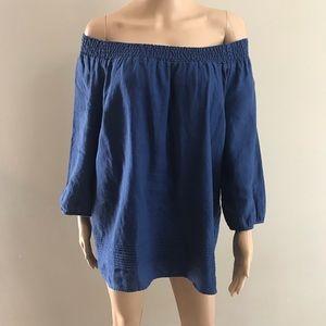 Boden off shoulder top blouse Sz 10 blue